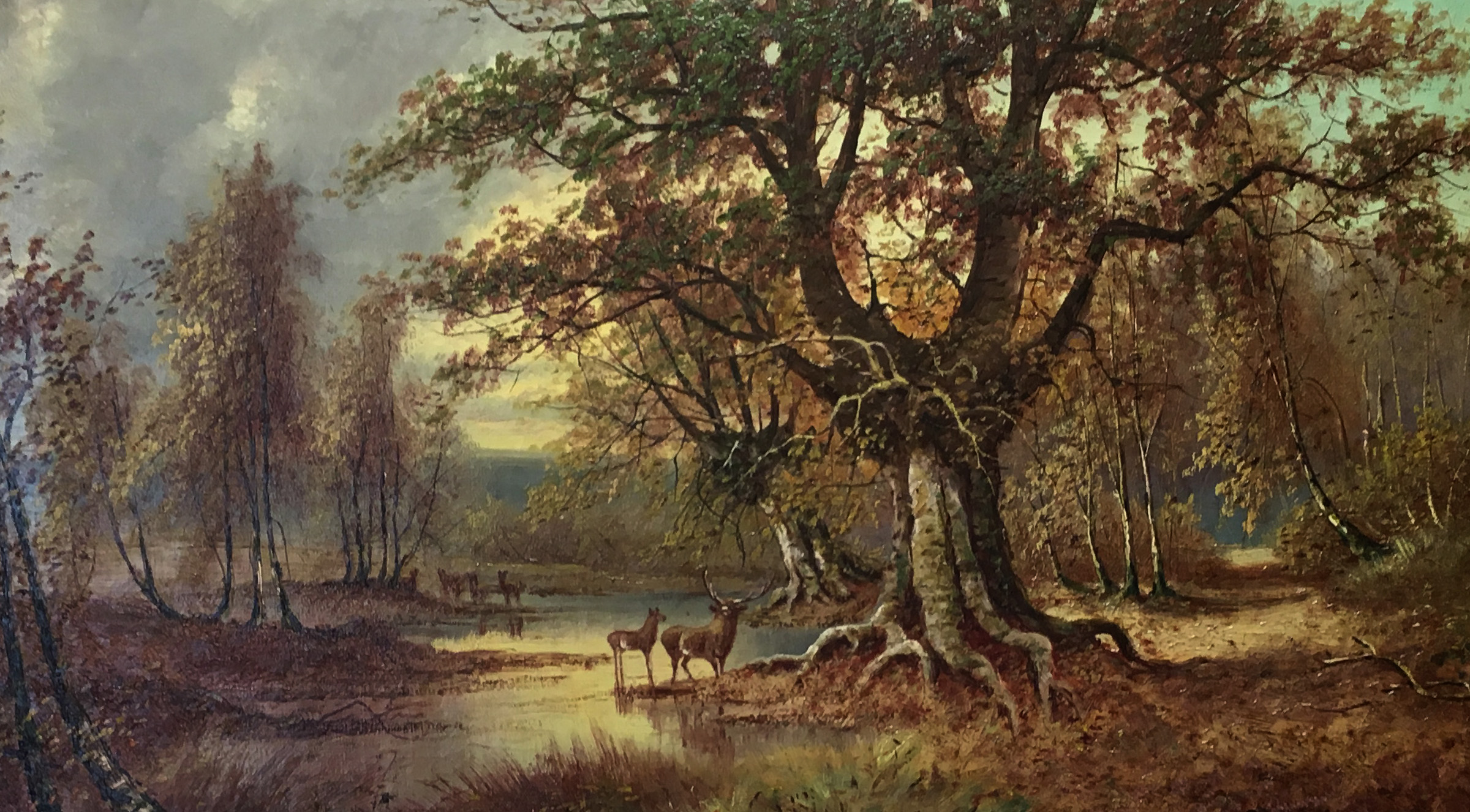 Painting of two deer, a lake, and a beautiful oak tree.  Symbolic of regional Appalachian landowners and our history of protecting trusts and estates from litigation.